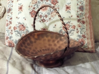 COPPER Basket Decorative Fruit Flower Floral 10 in Used